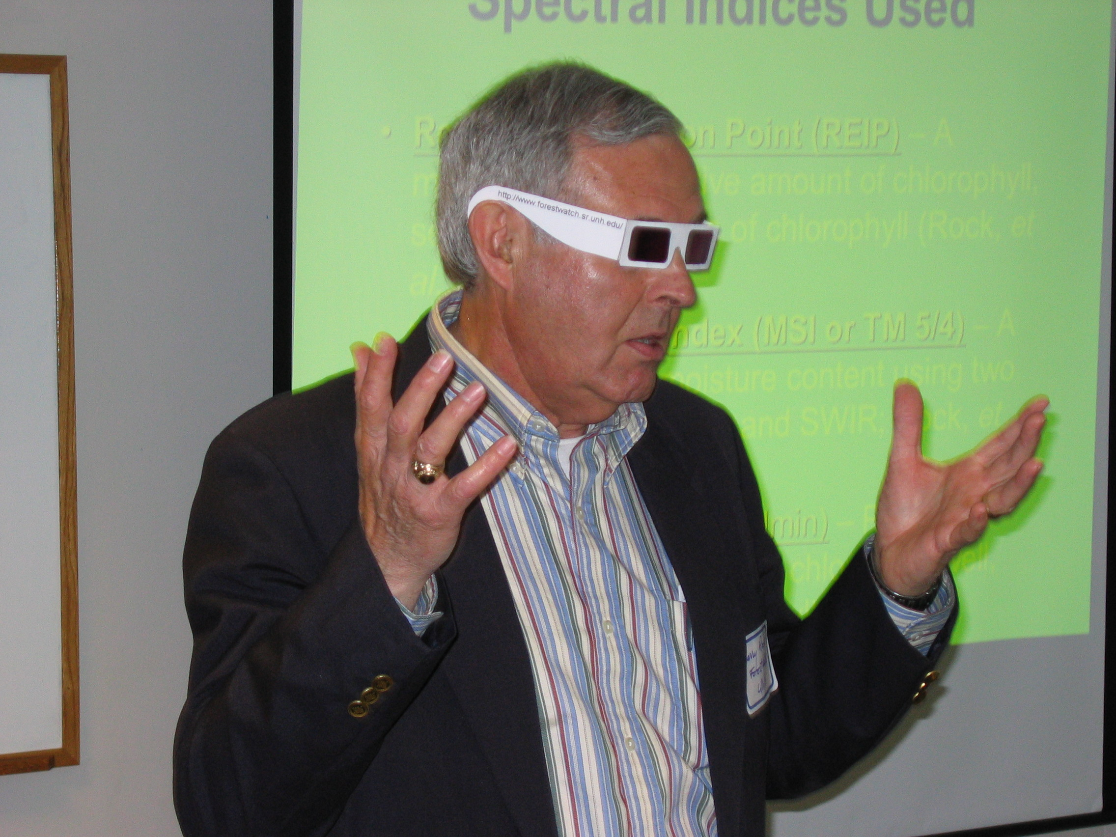 Dr. Barry Rock from the University of New Hampshire wearing the paper version of the plant stress detection glasses during a teacher workshop.